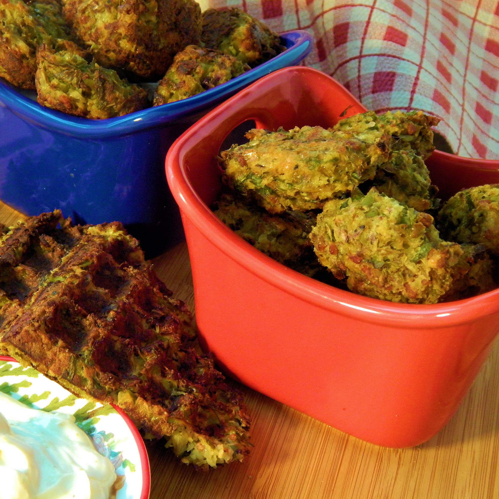 Broccoli Bacon Ranch Tots in red and blue dishes
