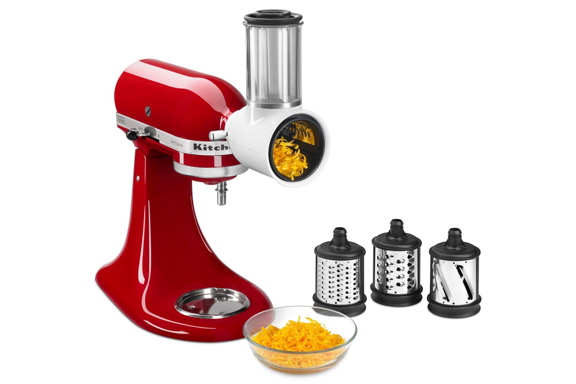 KitchenAid Stand Mixer in Red with Grating attachments and bowl of shredded grater cheese