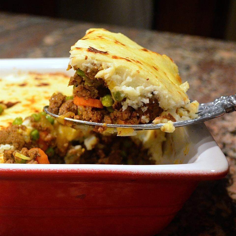 Paleo Shepherd's Pie served out of a red casserole dish