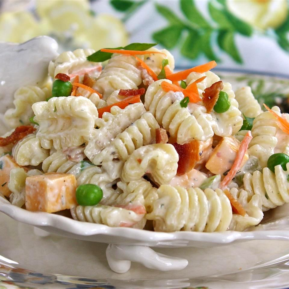 Ranch, Bacon, and Parmesan Pasta Salad in a white dish
