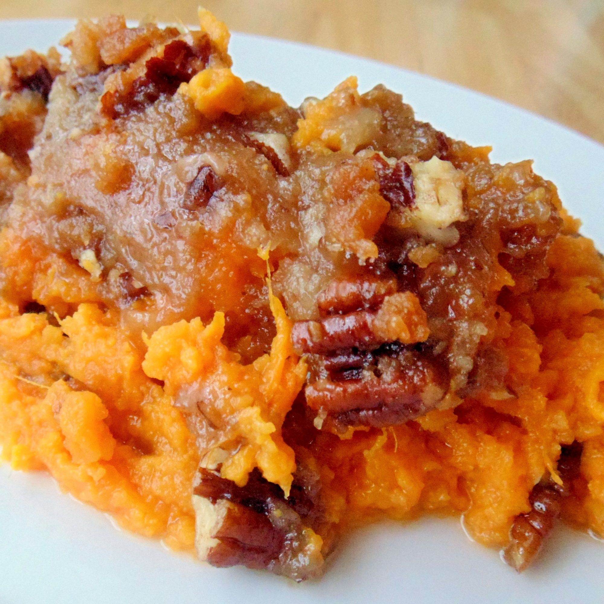 Sweet Potato Casserole on a white plate