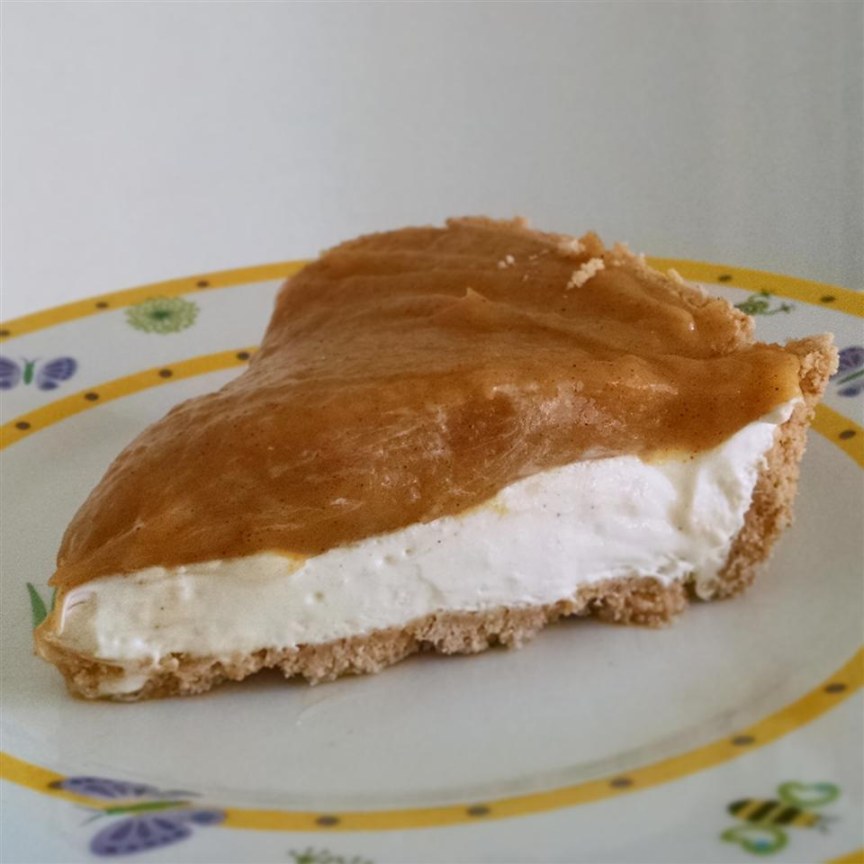 Double Layer Pumpkin Pie on a white plate