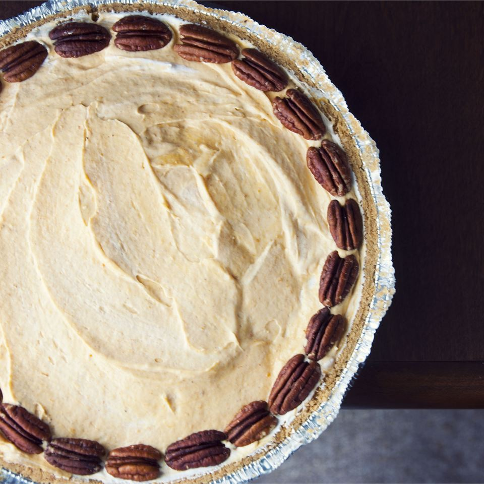 Pumpkin Cream Pie on a dark background