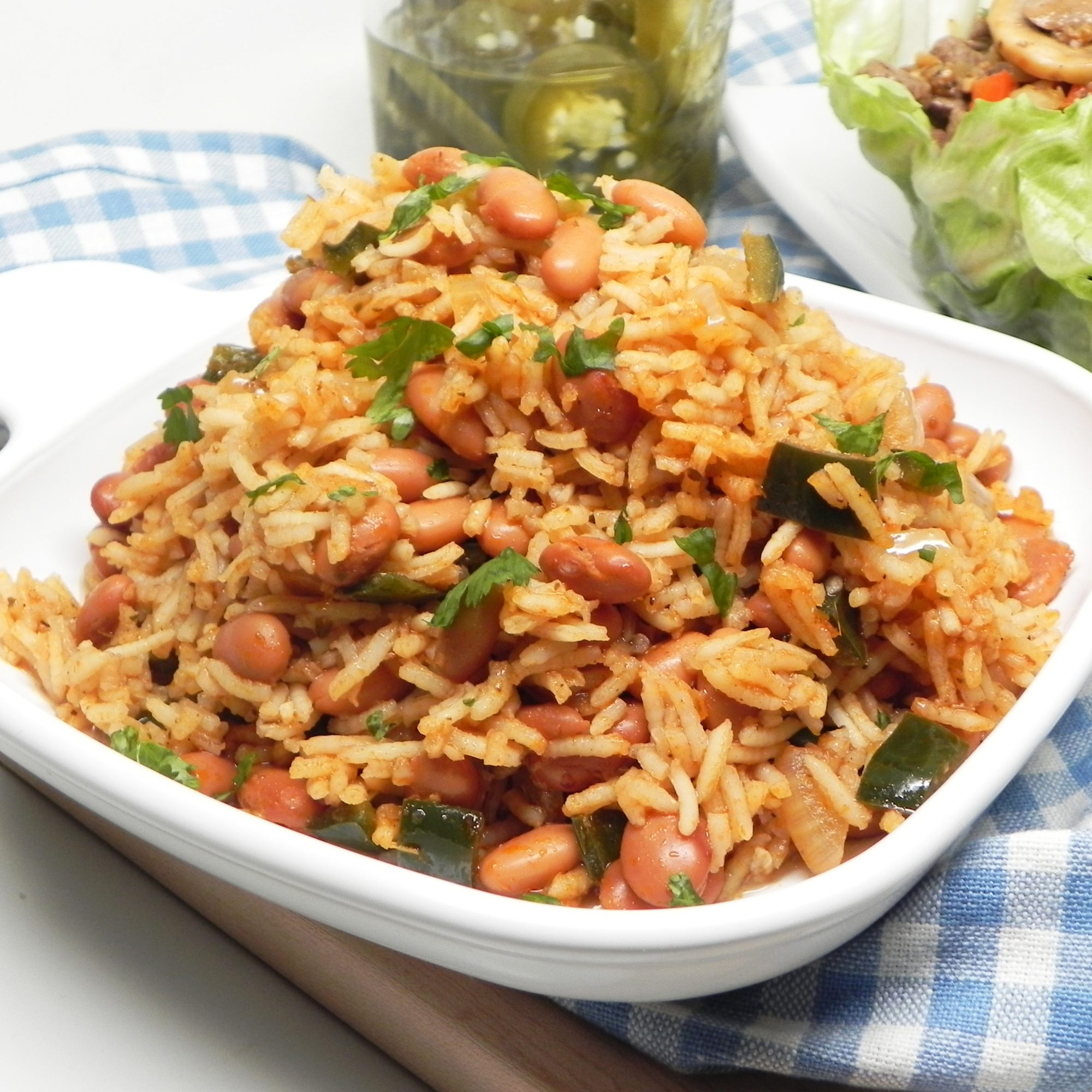 Mexican Rice and Beans in a white bowl