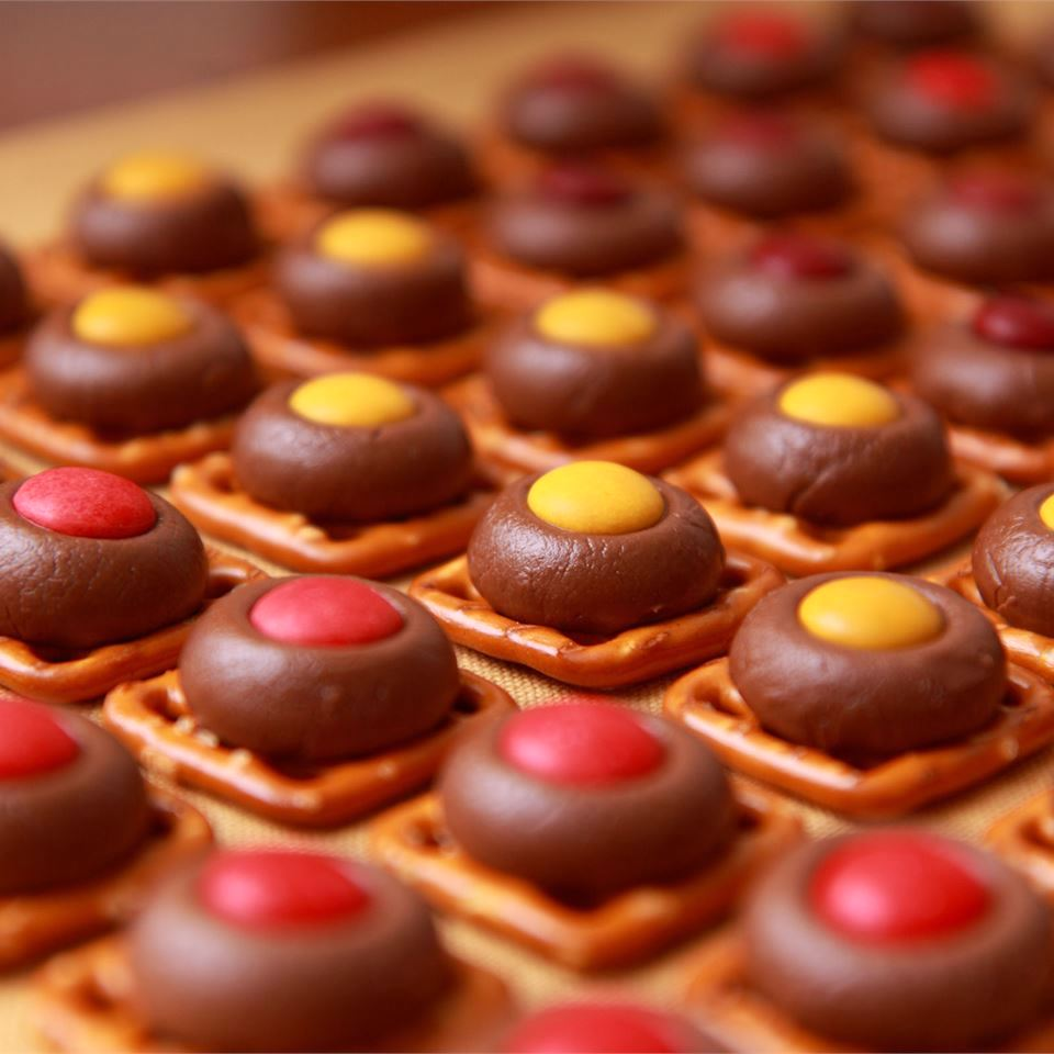 Chocolate Pretzels with red and yellow candies on top
