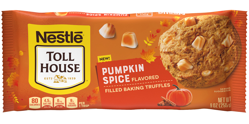 a bag of Nestle TOLL HOUSE Pumpkin Spice Filled Baking Truffles on white background