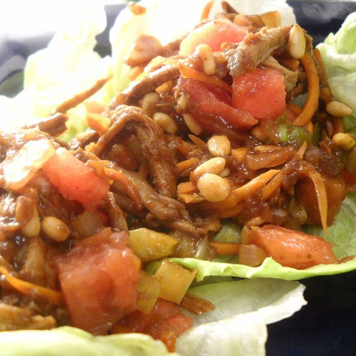 Close up of Minced Pork and Watermelon Lettuce Wraps