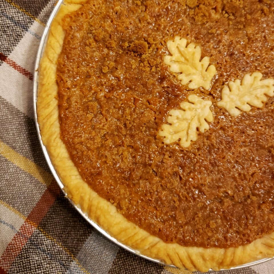 Brown Sugar Pie decorated with leaf pastries
