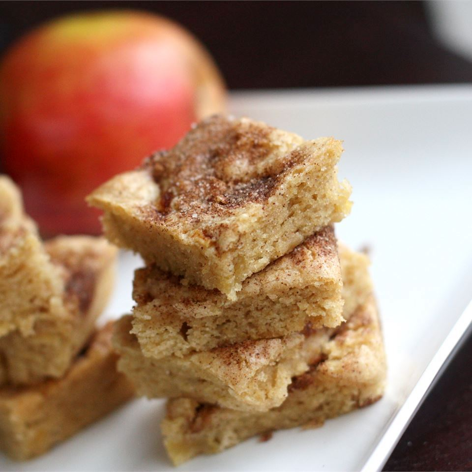 Apple Squares on a white plate