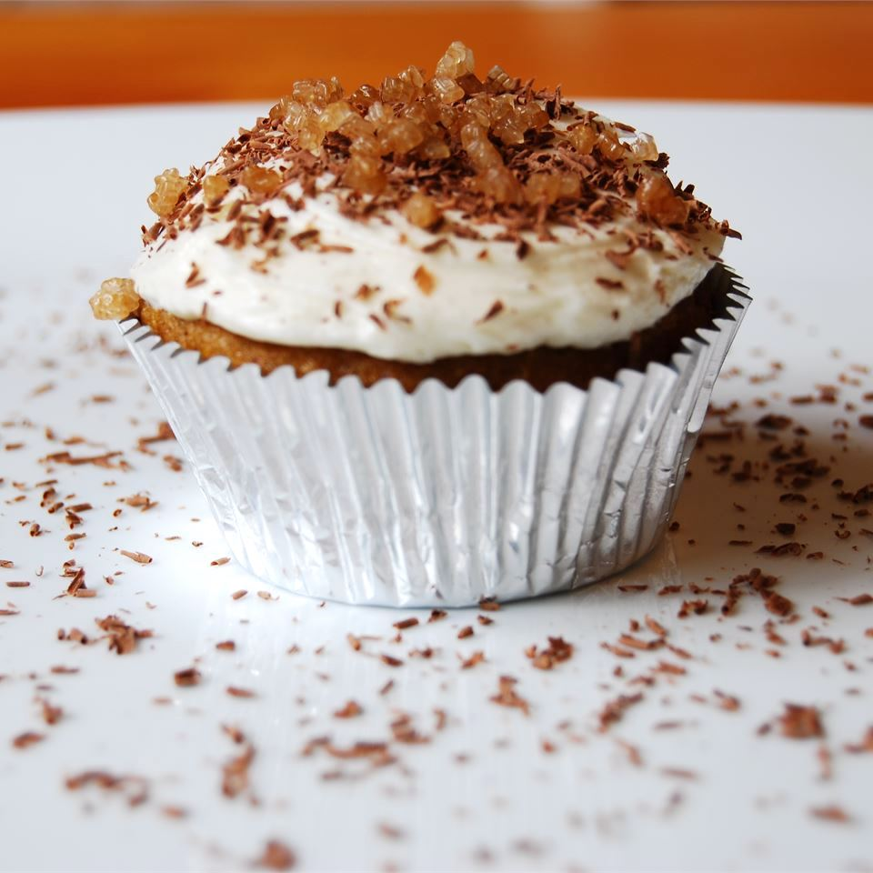 Candied Yam Cupcakes on a white plate