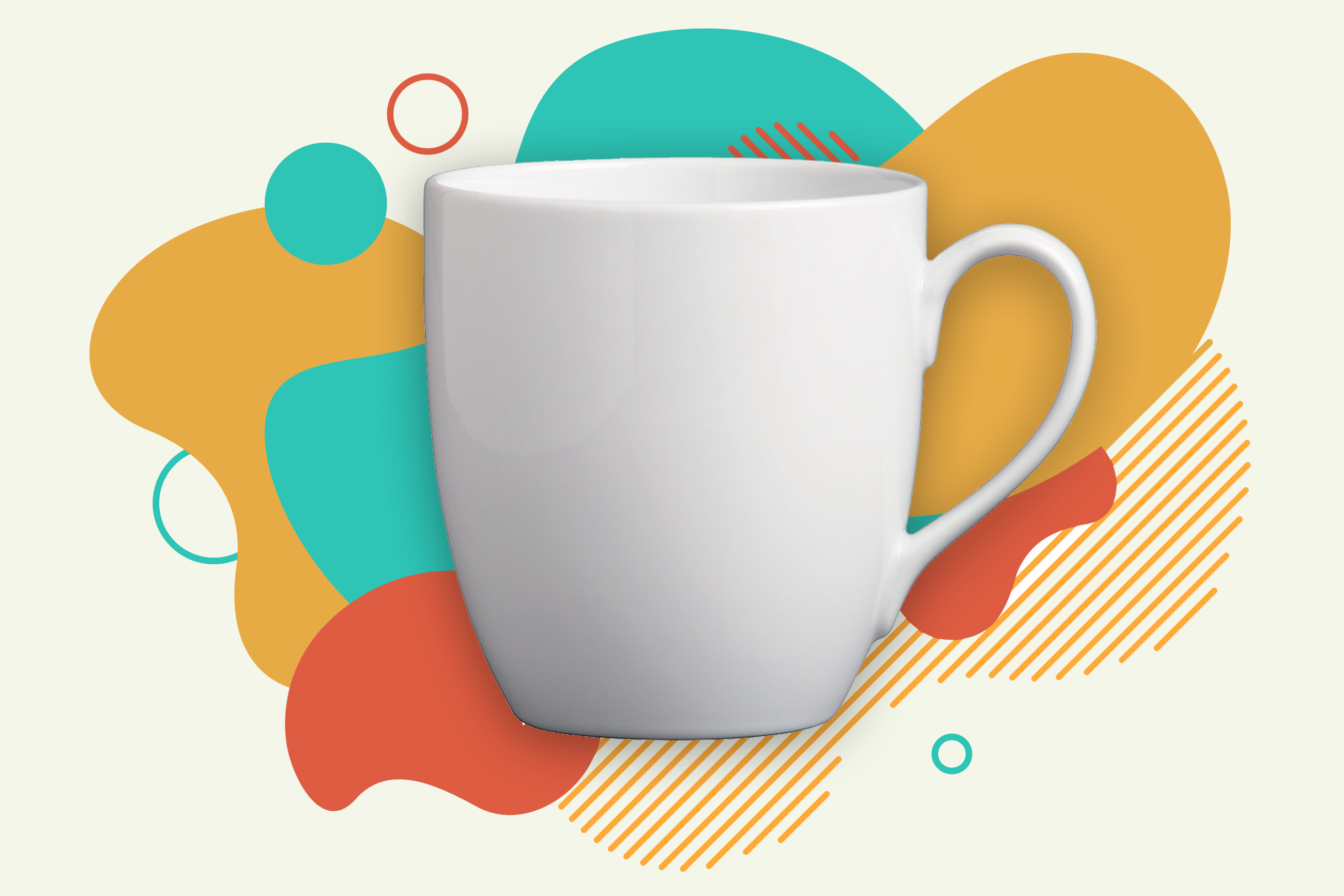 a white mug on a colorful abstract background