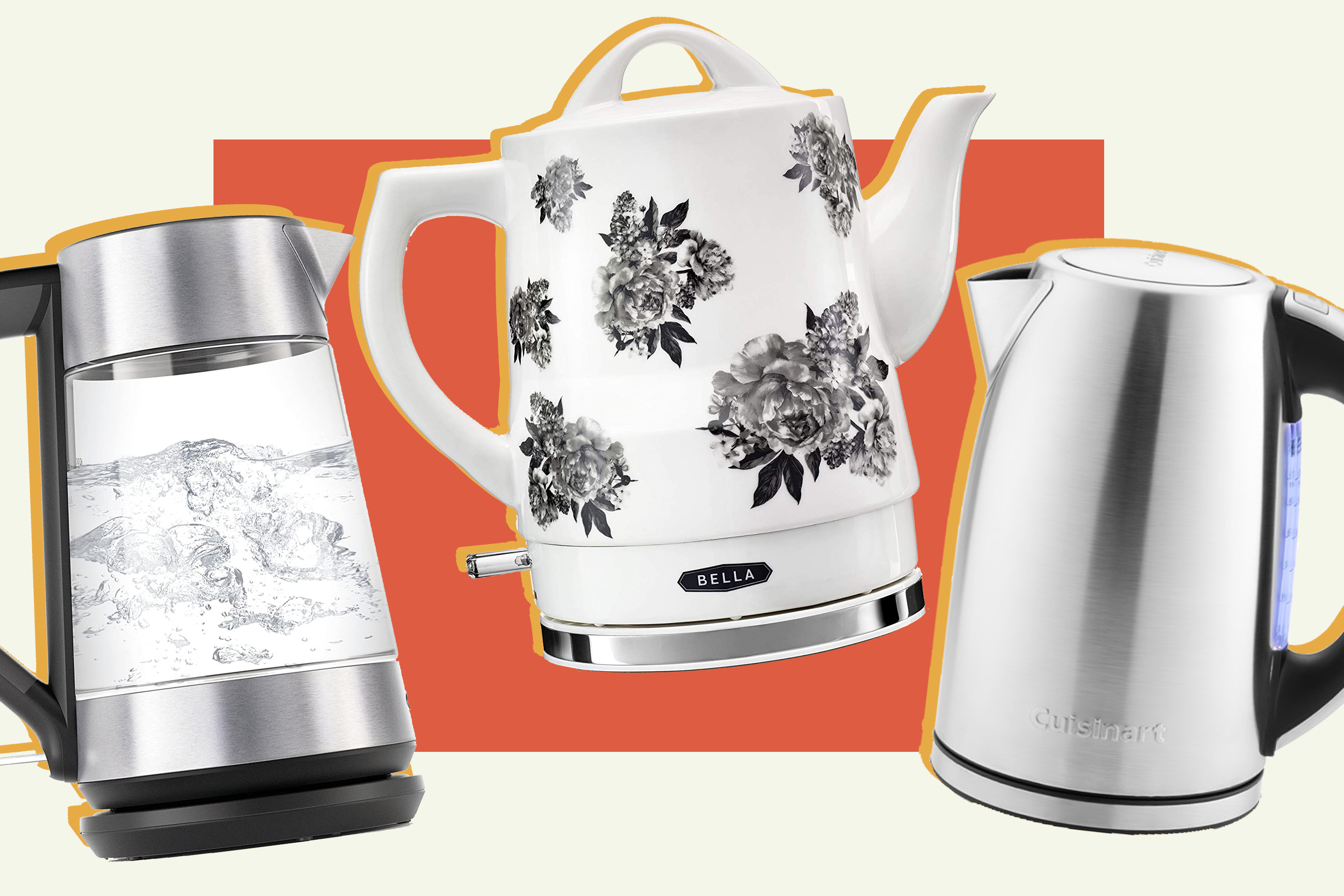 3 electric kettles are displayed on a colorful background