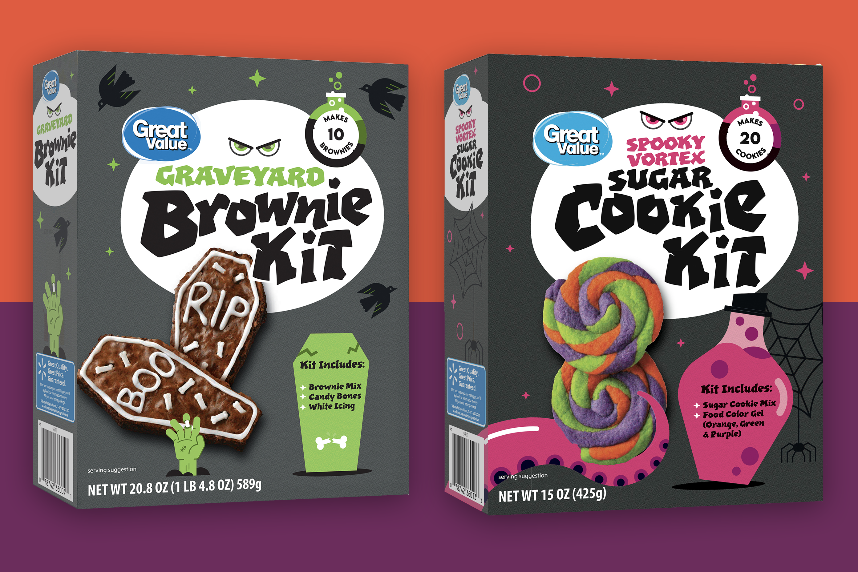 Two boxes of Walmart's Great Value Brownie Mix and Sugar Cookie Mix