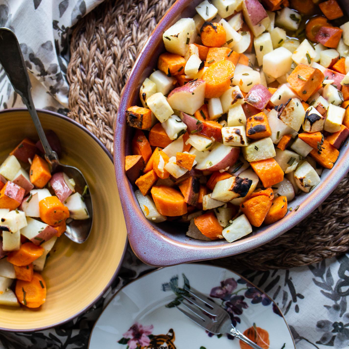 Root Vegetable Bake in a casserole dish and a bowl