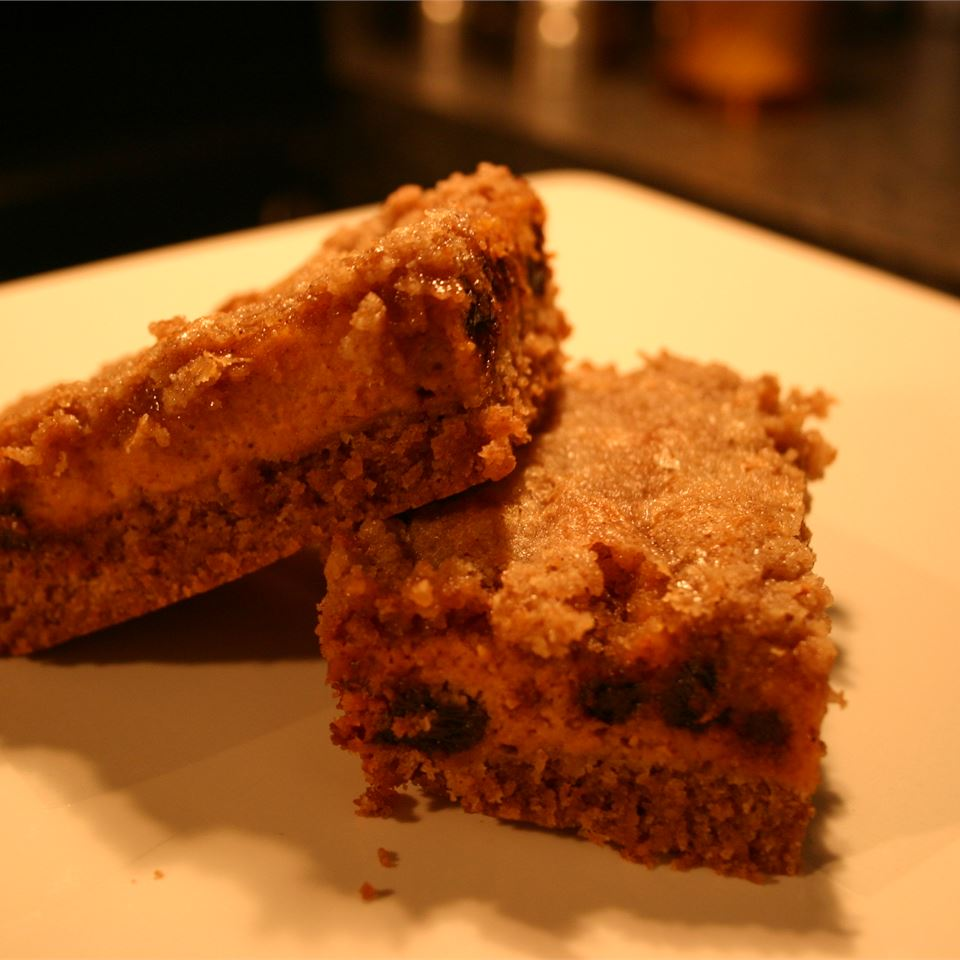 Two Pumpkin Pie Bars on a white plate
