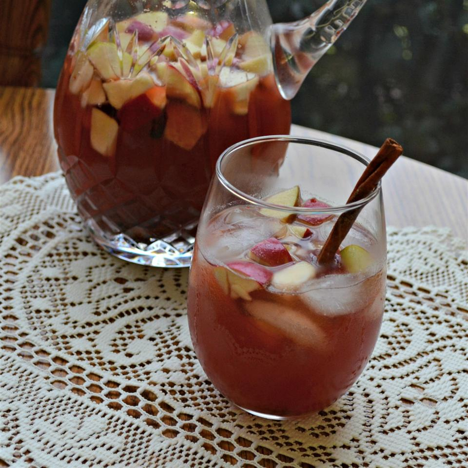 Cranberry Sangria in a pitcher and glass