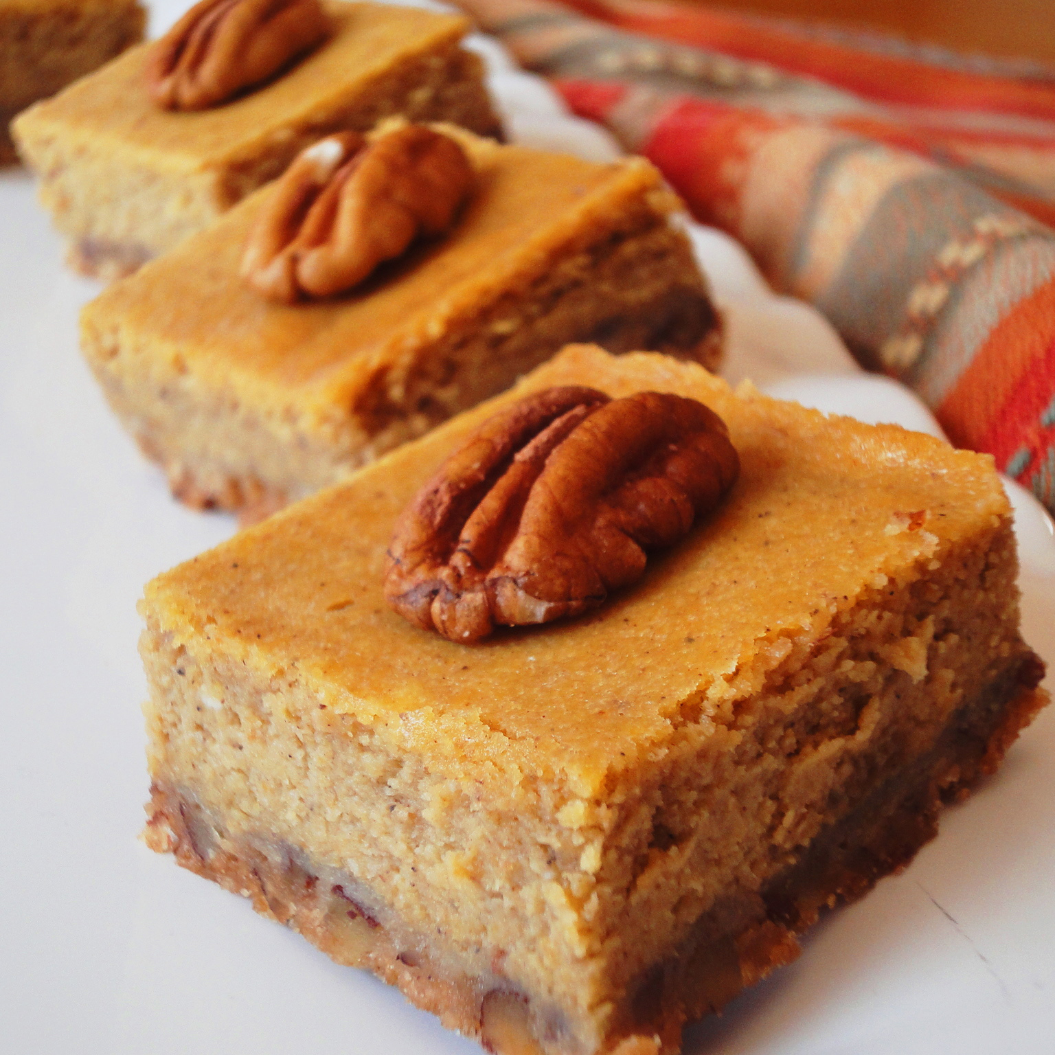 Close up of Perfect Pumpkin Cheesecake Bars