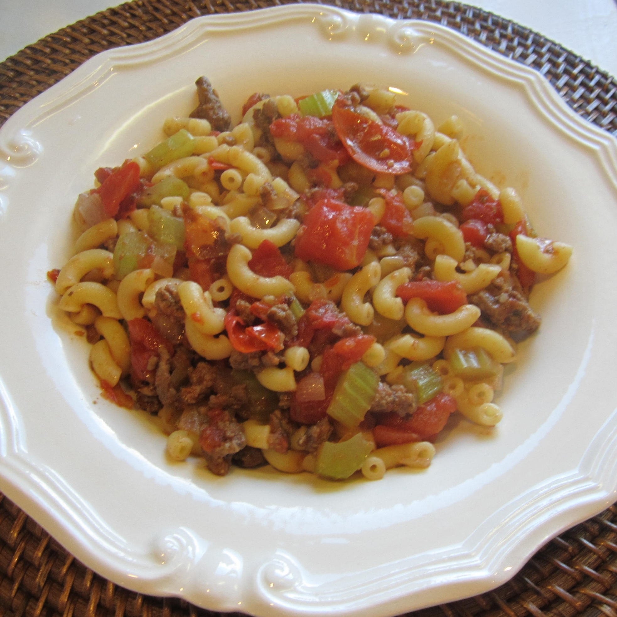 Microwave goulash on a white plate