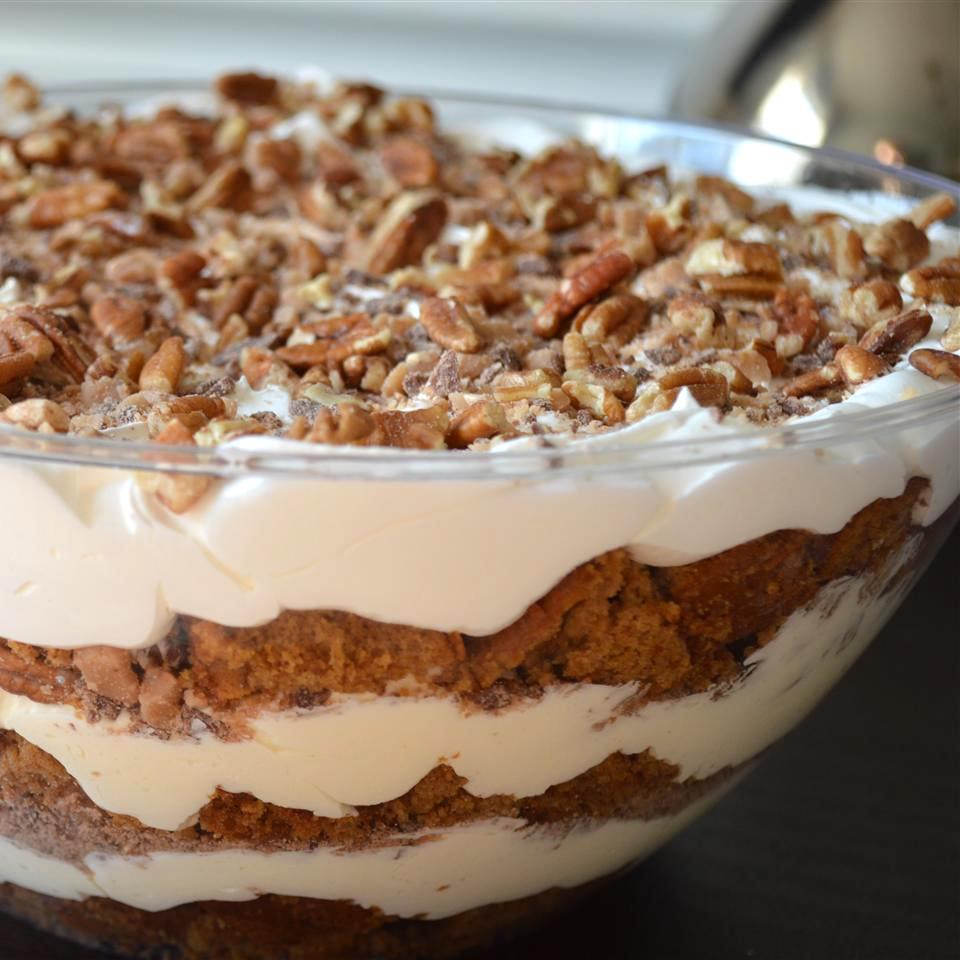 Easy Pumpkin Cream Trifle in a glass bowl