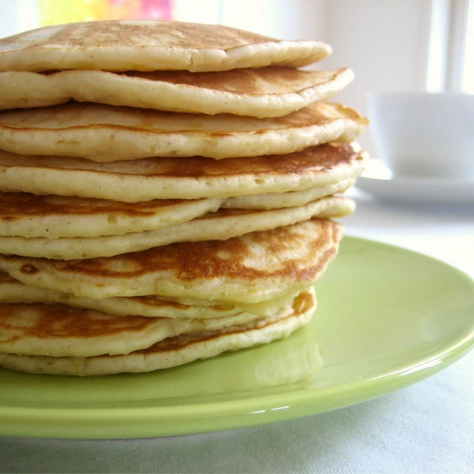 Veronica's Apple Pancakes on a green plate