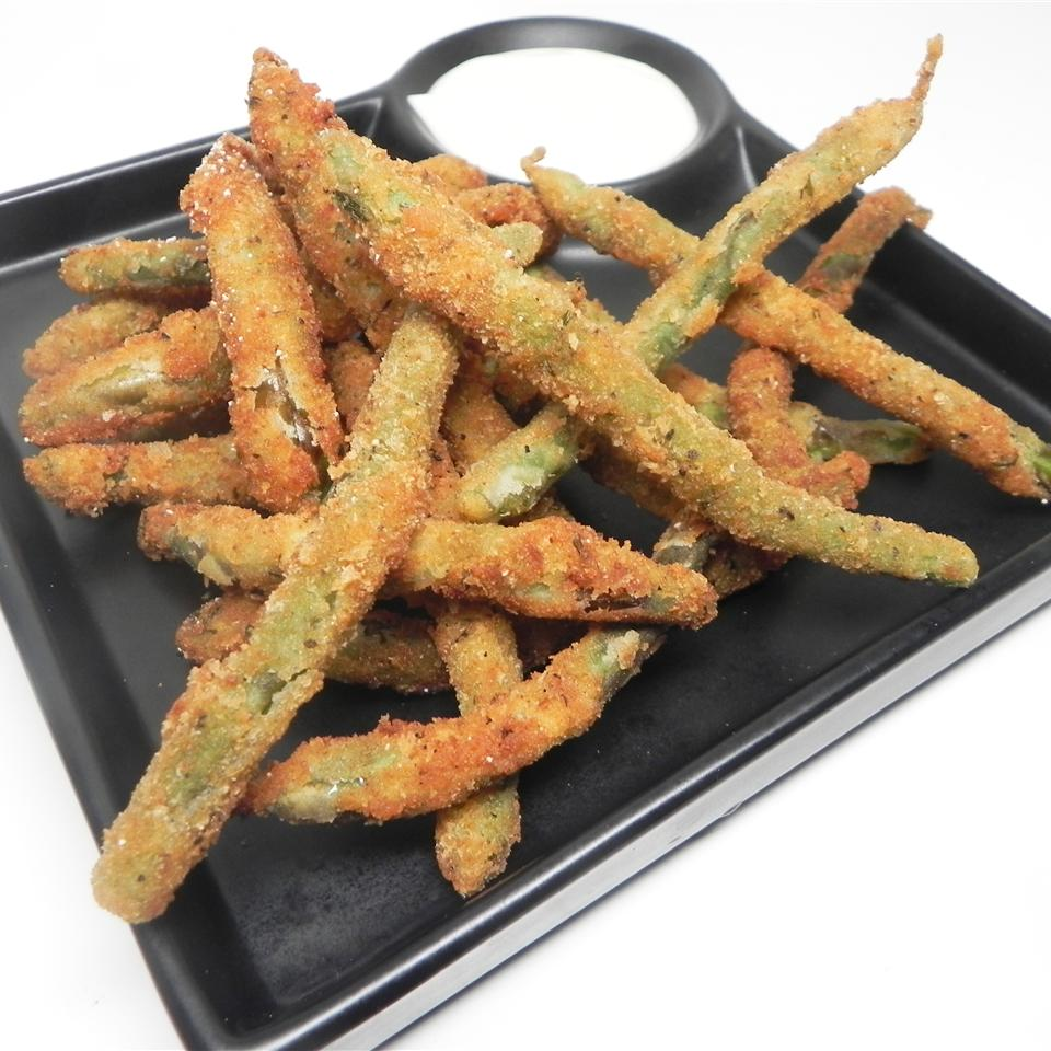 Deep Fried Green Beans on a black dish