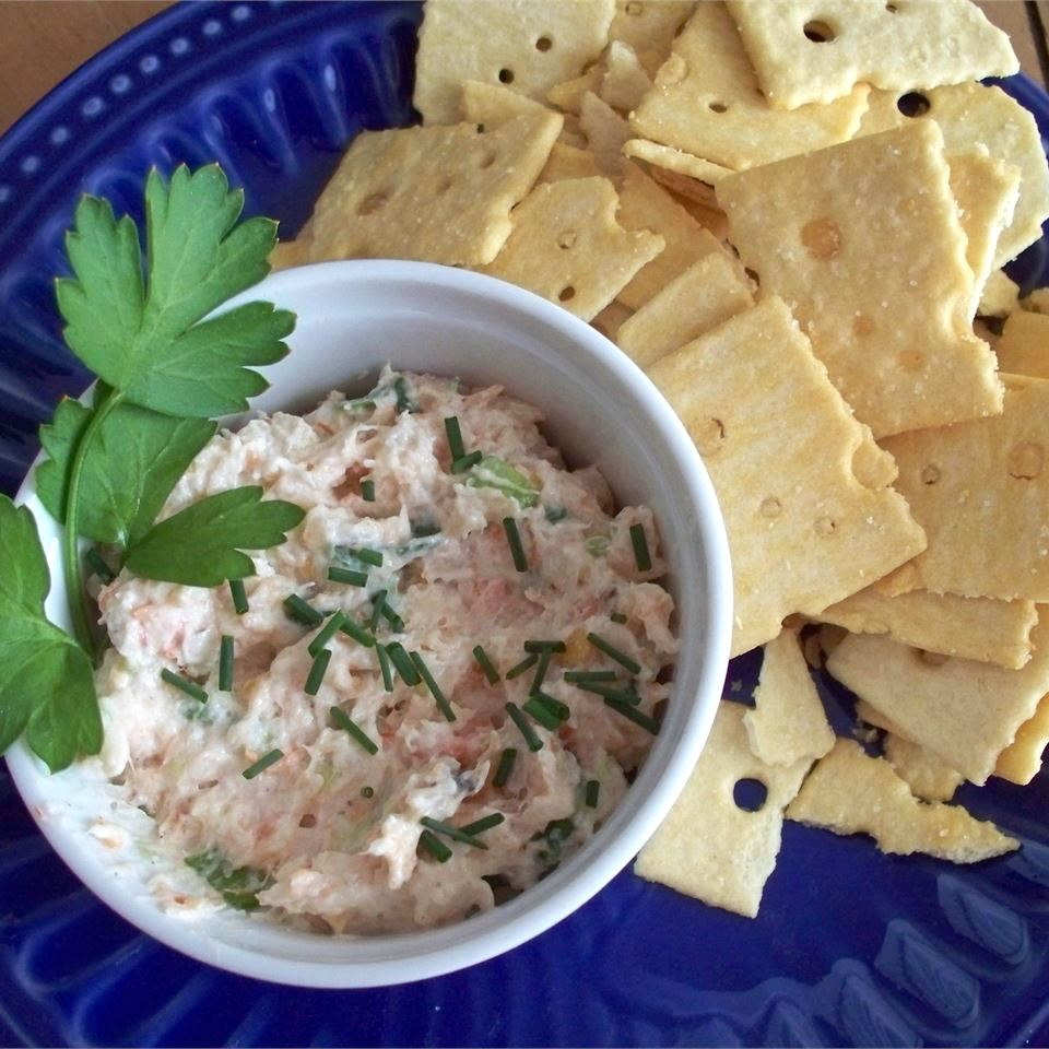Best Ever Shrimp Dip with crackers on the side