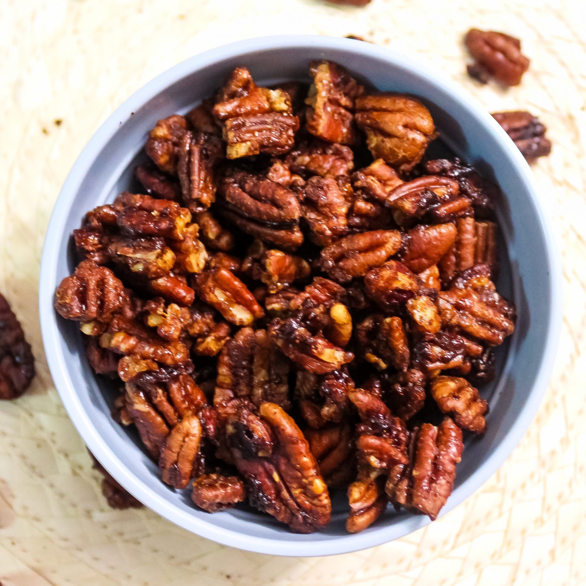 Microwave Spiced Nuts in a bowl