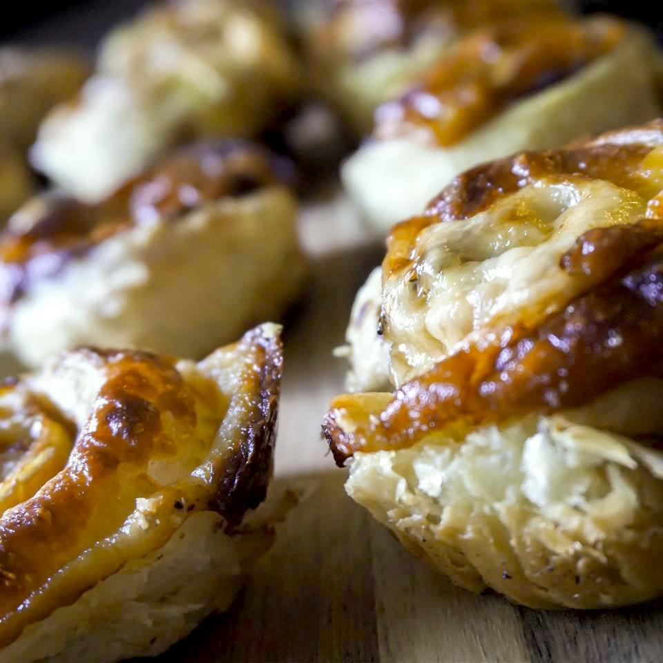 pastries with prosciutto and Parmesan