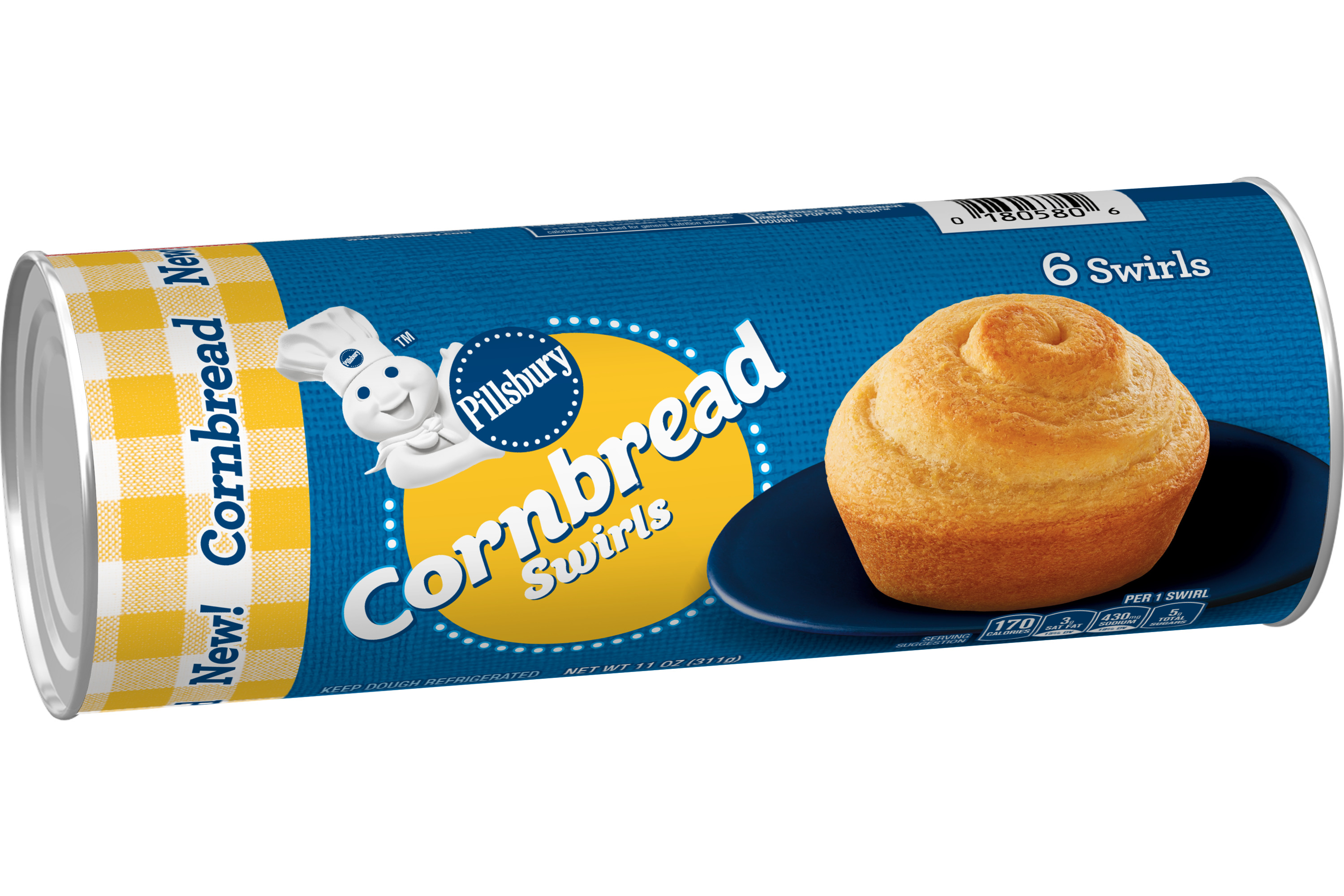 A can of Pillsbury Cornbread Swirls on a white background