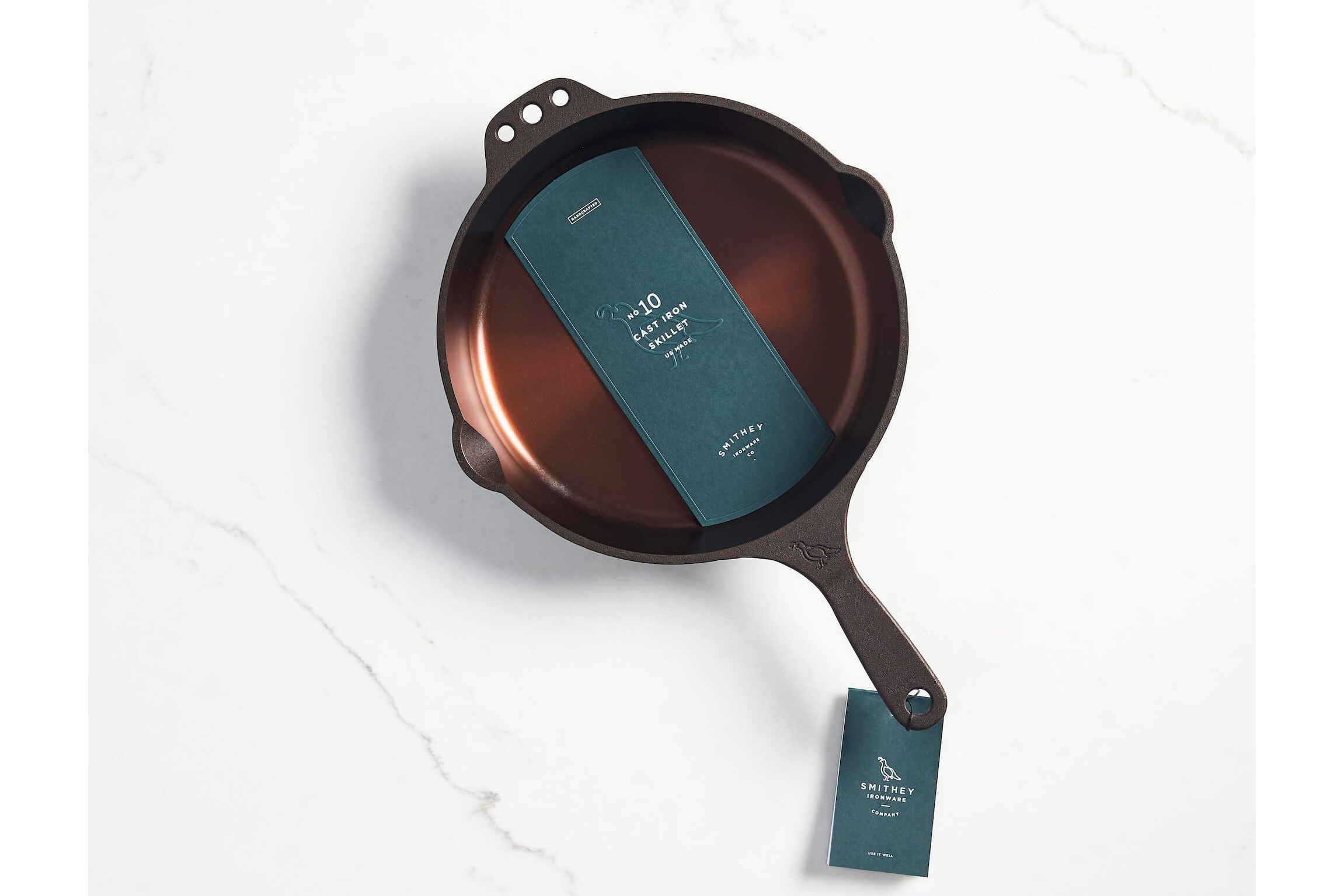 Smithey Ironware No. 10 Cast Iron Skillet on a marble background