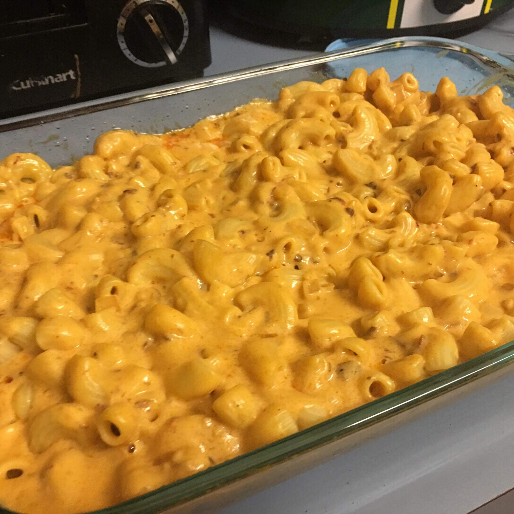Chipotle Mac and Cheese in a glass casserole dish