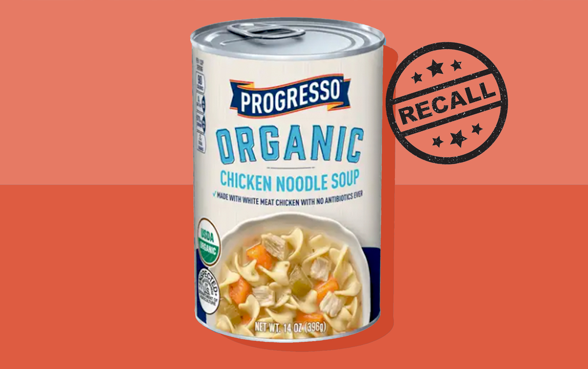 """Progresso Organic Chicken Noodle Soup Can on a two-tone background with a """"Recall"""" stamp"""