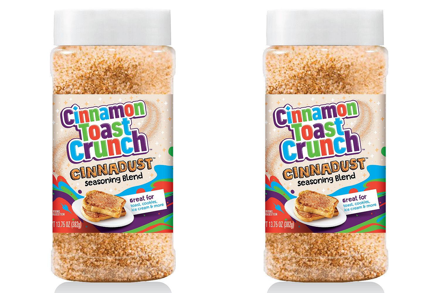 two bottles of Cinnamon Toast Crunch Cinnadust on a white background