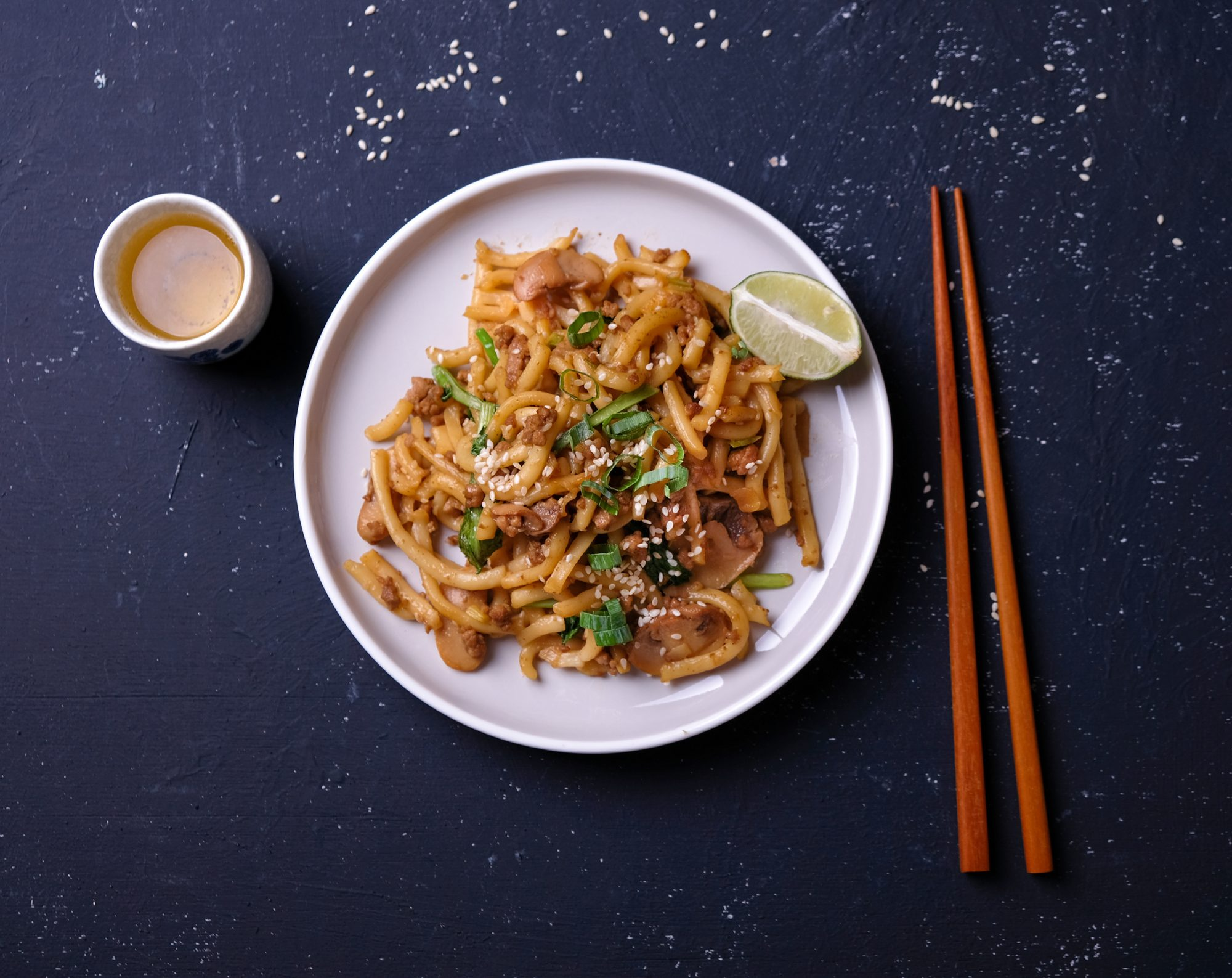 Stir Fry Udon with red chopstick