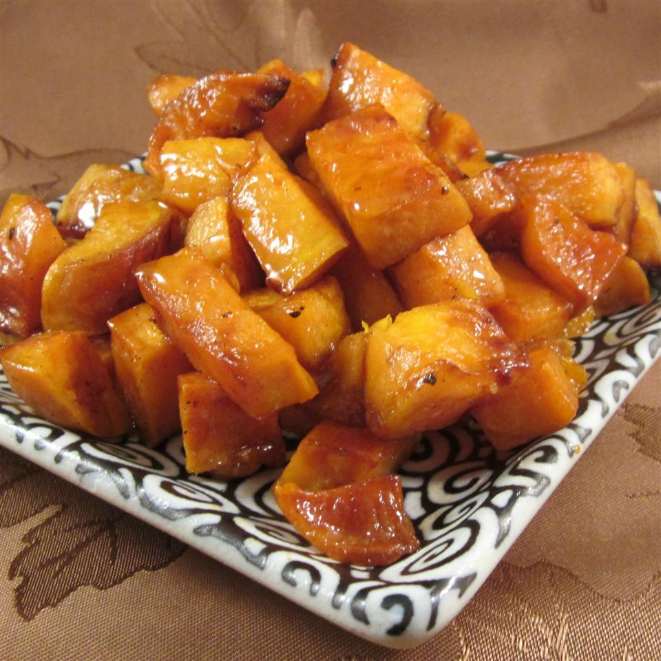 plate of Honey Roasted Sweet Potatoes
