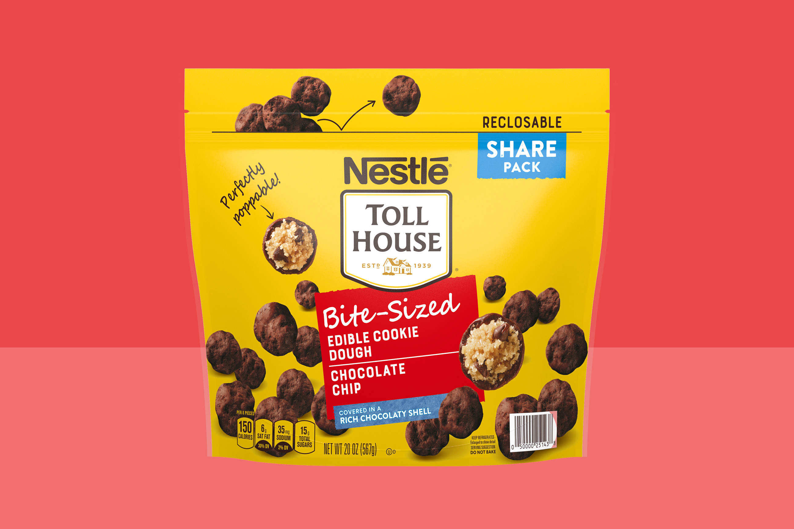 Nestle Toll House Bite-Sized Chocolate Chip Edible Cookie Dough on a two-tone background