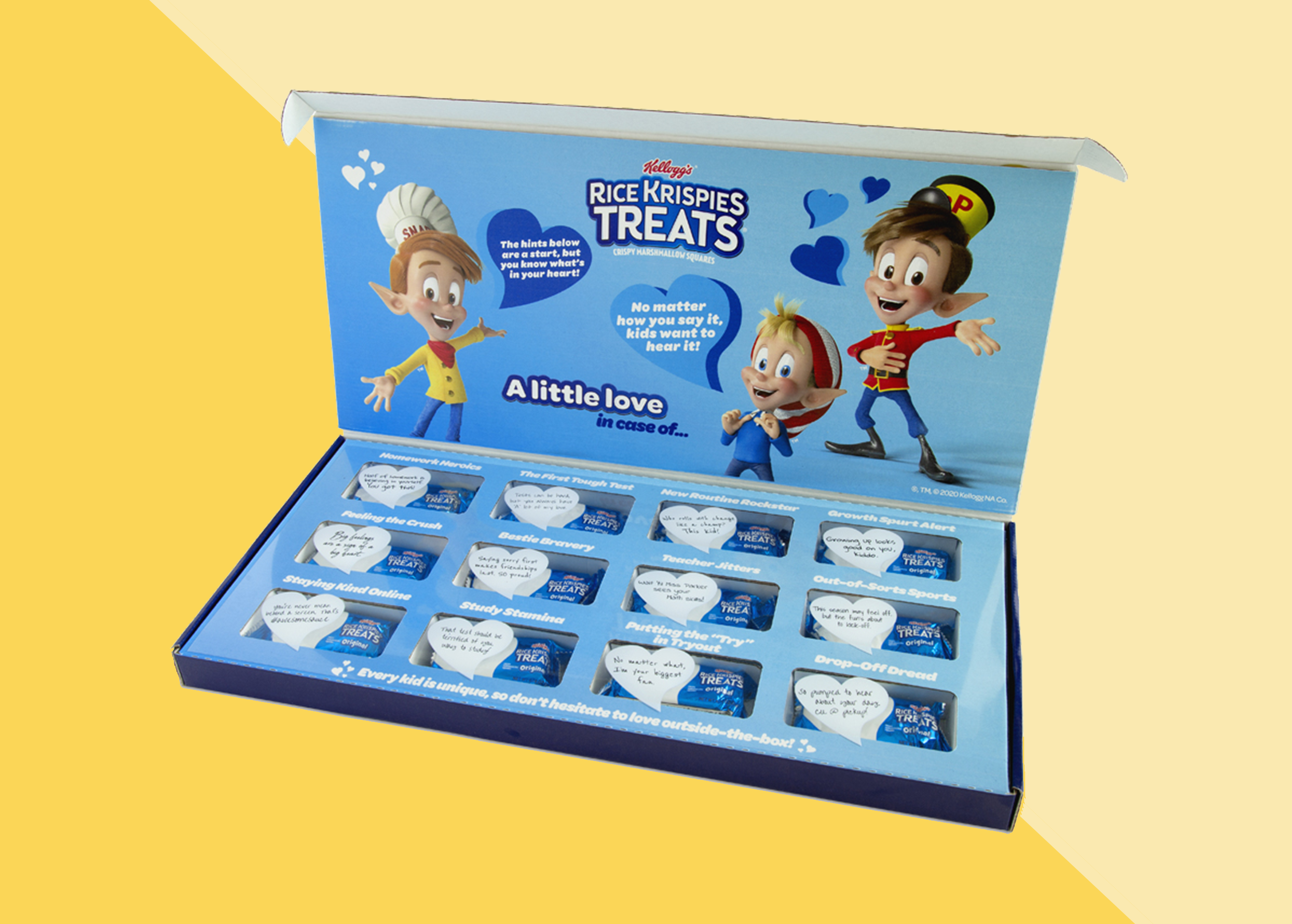 A box of rice krispies treats with 12 individually-wrapped treats