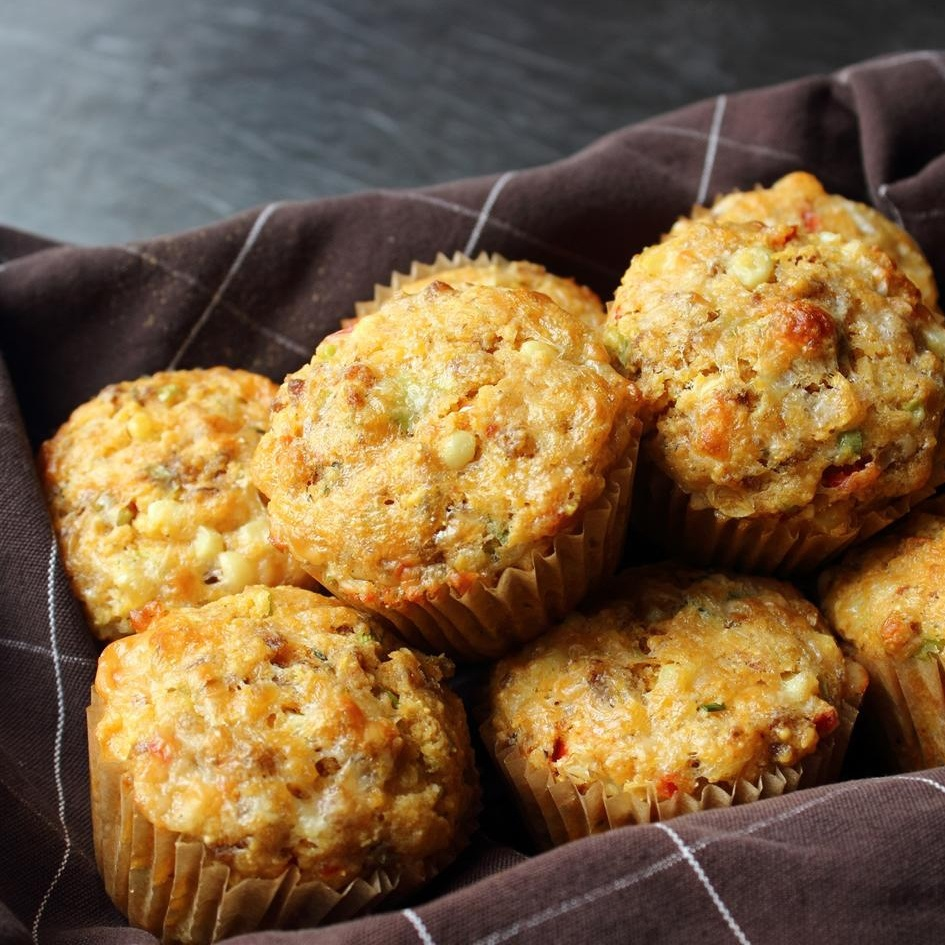 basket on sausage and sweet corn muffins