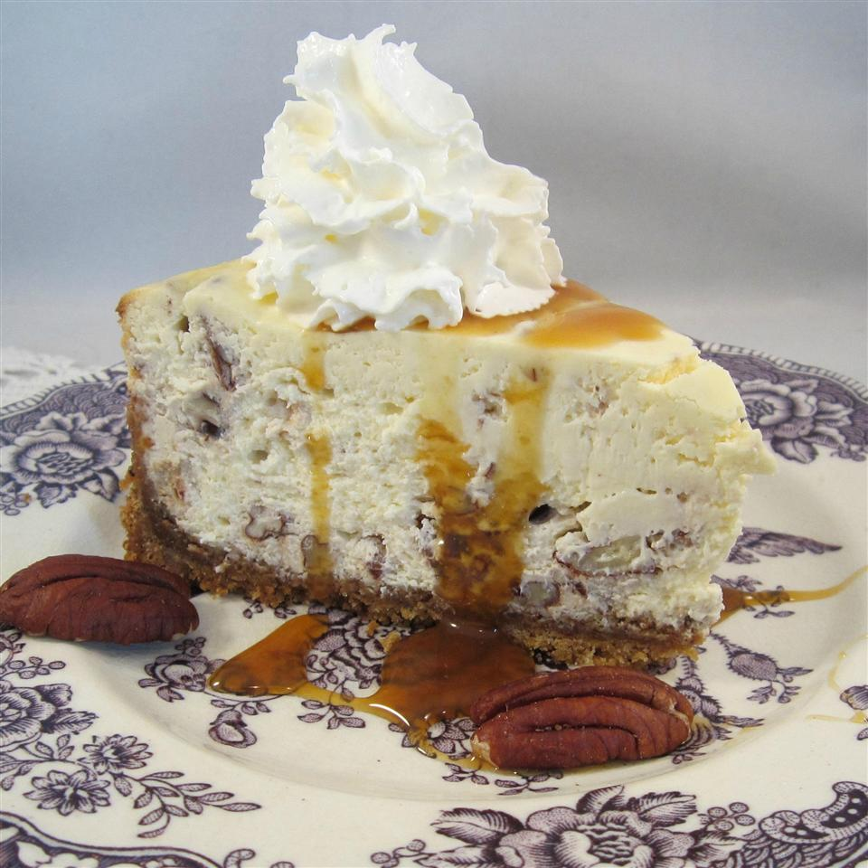 Butter Pecan Cheesecake on China plate