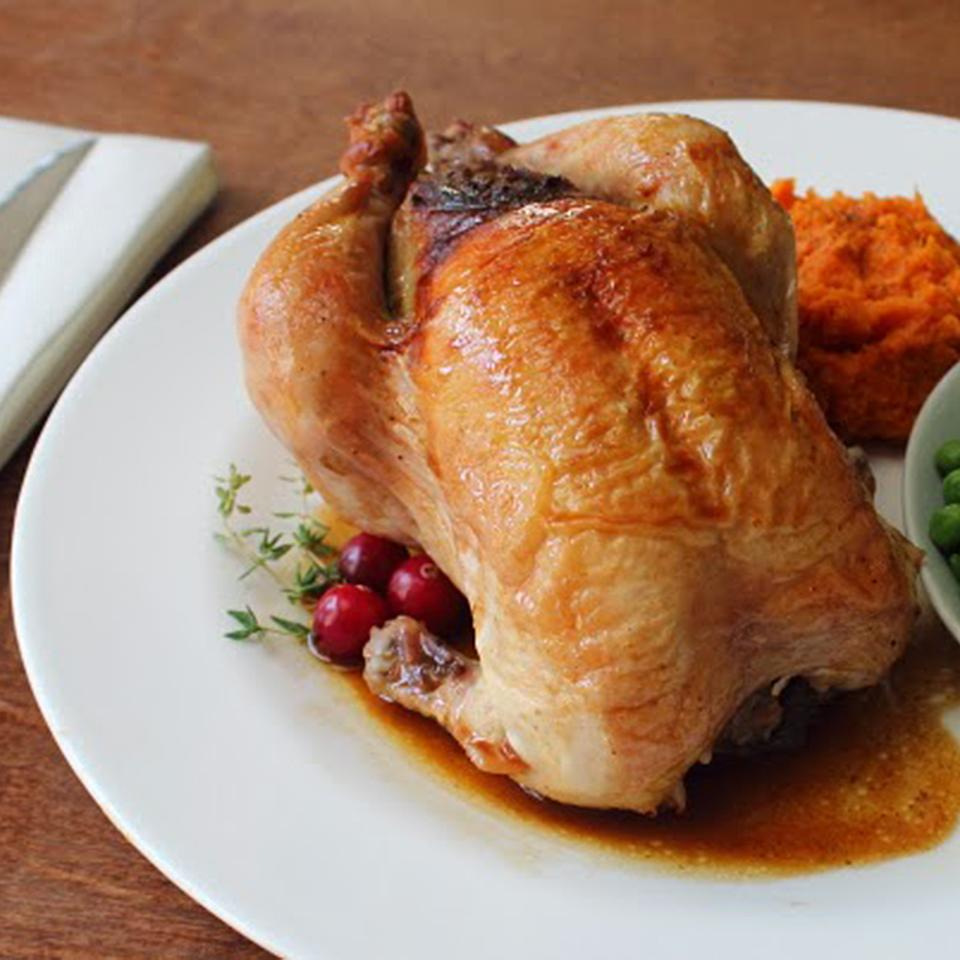 Cranberry Stuffed Game Hens with mashed sweet potatoes on white plate