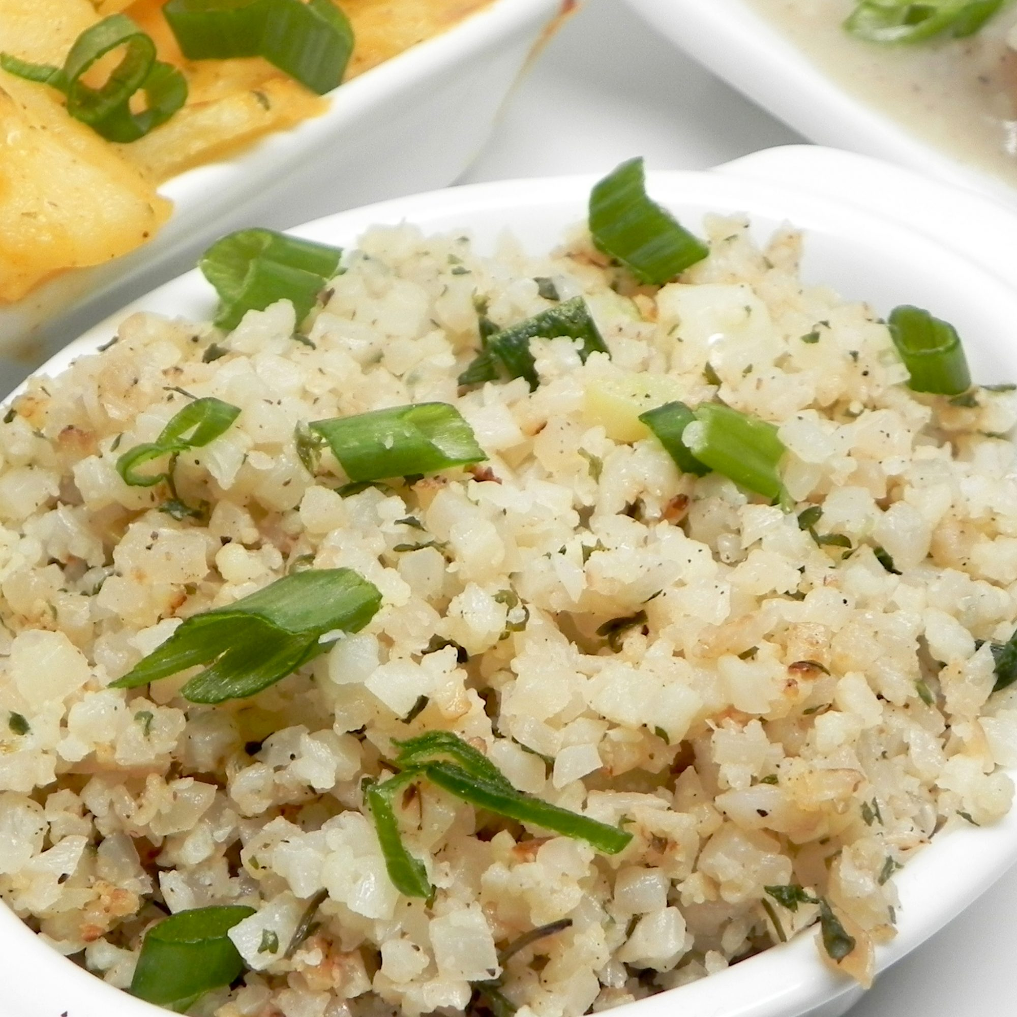 Herbed Cauliflower Rice in a white dish