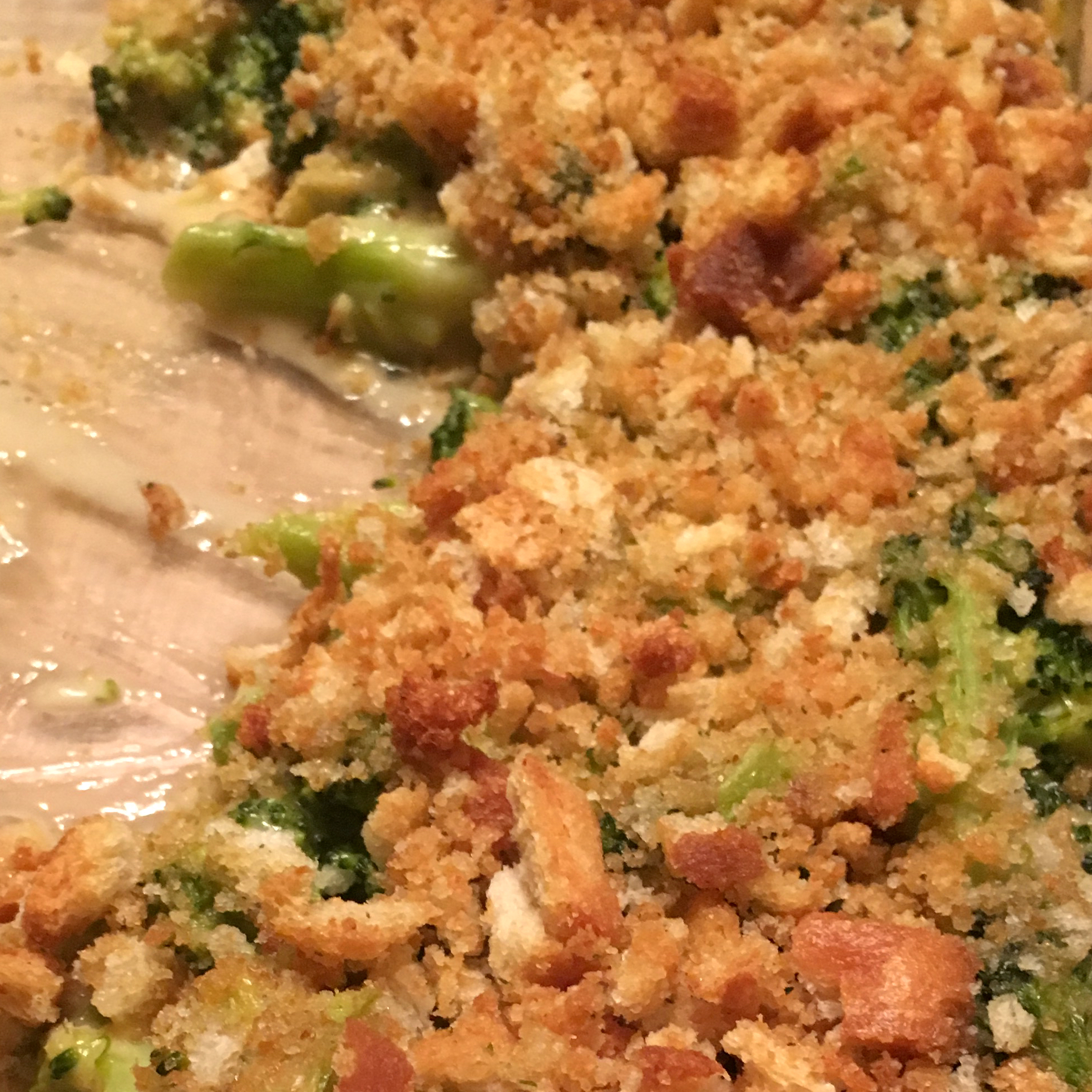 Aunt Millie's Broccoli Casserole topped with bread crumbs