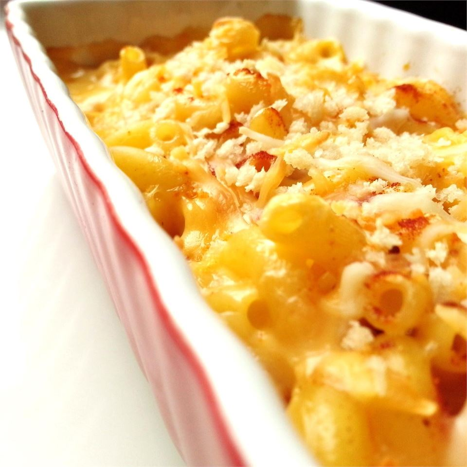 Easiest Homestyle Macaroni and Cheese in a red casserole dish