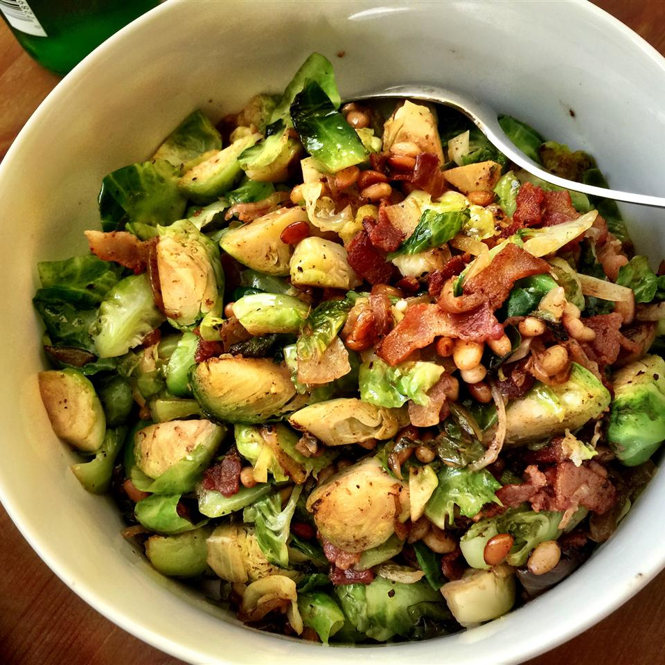 white bowl of Shredded Brussels Sprouts
