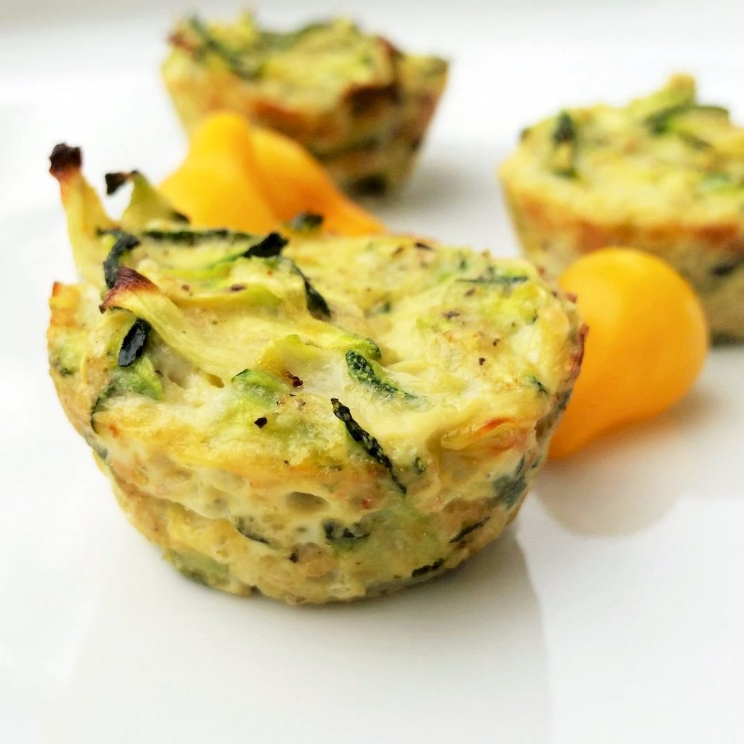 Zucchini Scallion Frittata Cups on a white plate