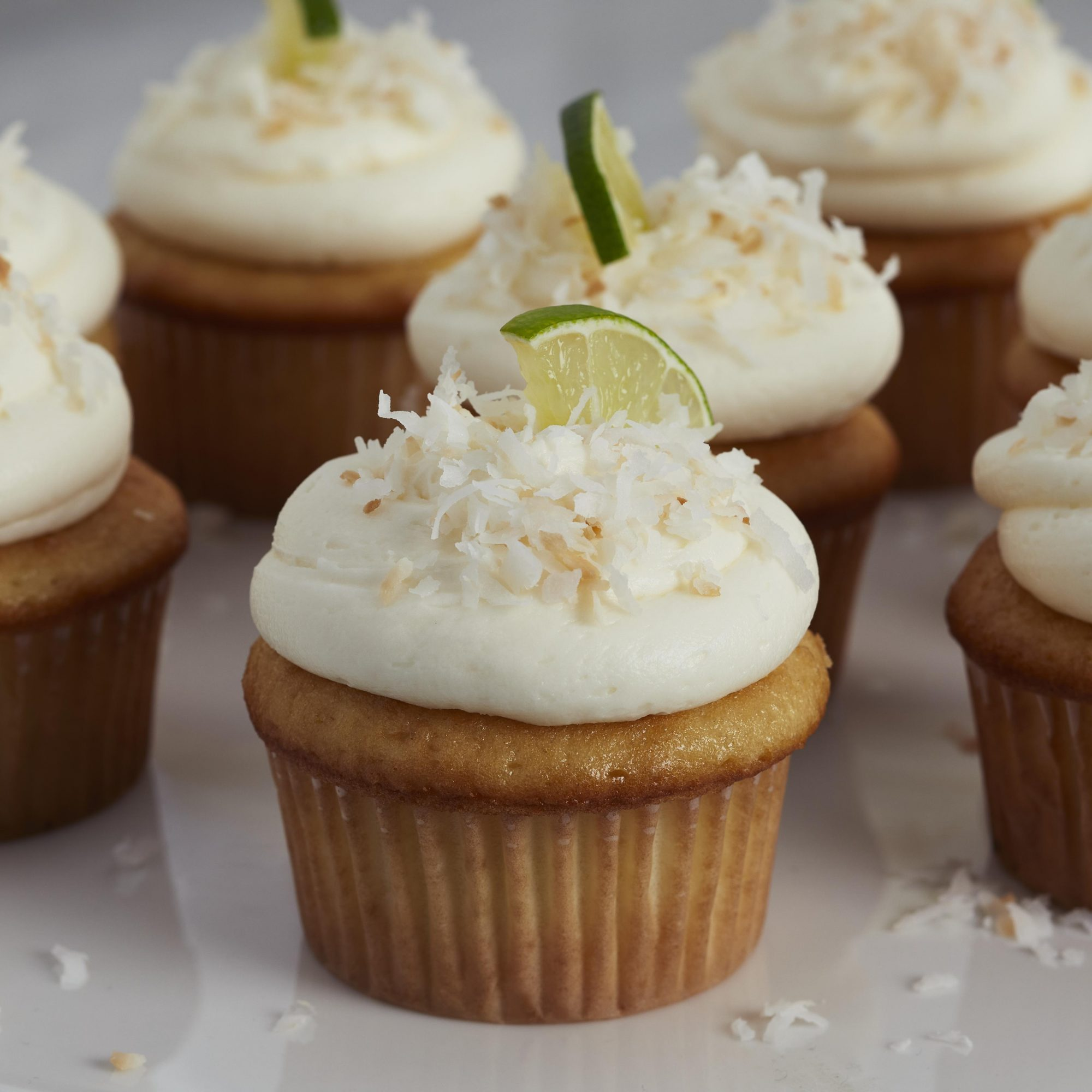 Platter of frosted key lime cupcakes