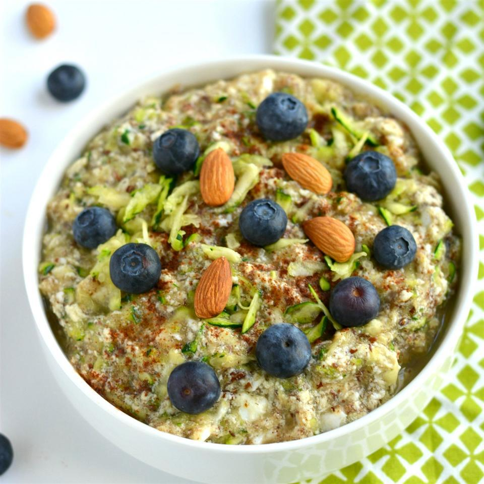 white bowl of Paleo Zucchini Oatless Oatmeal