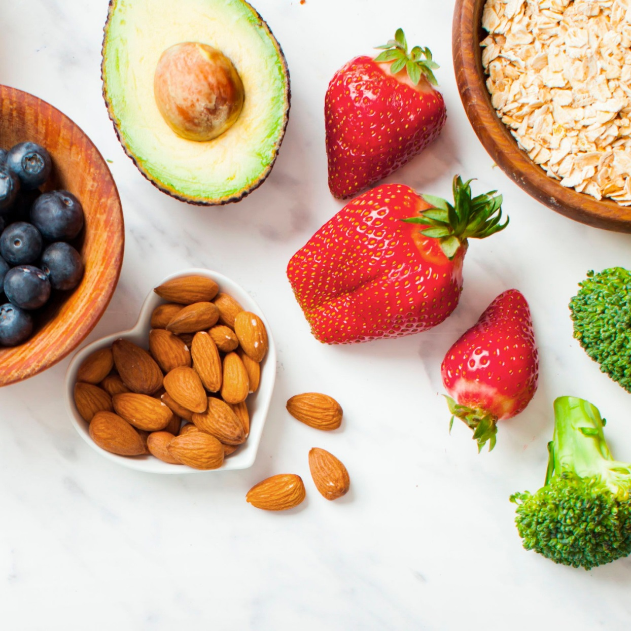 blueberries, avocado, strawberries, oats, and almonds