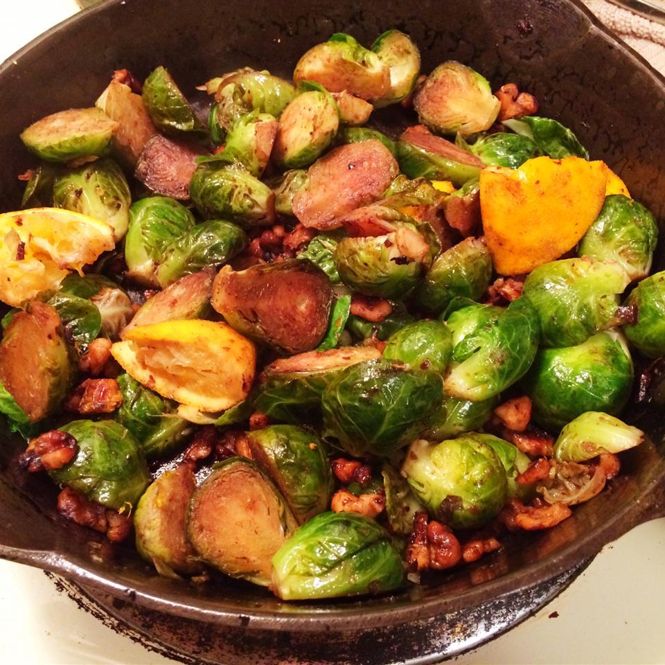 Browned Brussels Sprouts with Orange and Walnuts in a skillet