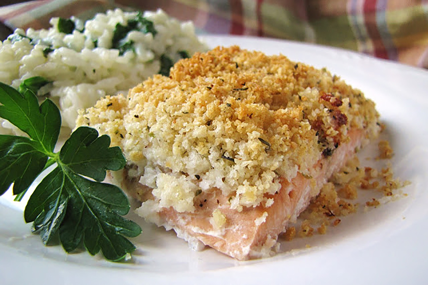 Baked salmon with a crusty panko crumb topping